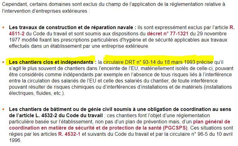 """INRS - Capture d'écran du dossier INRS """"Entreprise Extérieures - Cadre réglementaire - MAJ 05/03/2018"""""""